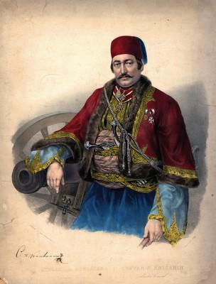 Stevan Petrović Knićanin, colour litograph, 1849, IAB, ZŠT.