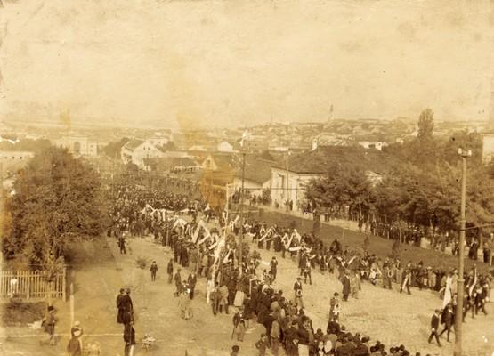 Transfer of Vuk Stefanović Karadžić's remains from Vienna to Belgrade. Procession took place from the railway station and along Nemanjina Street, Belgrade, 1897, IAB, Zf.