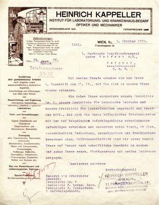 Писмо Хајнриха Капелера Ђорђу Вајферту, Беч, 1925, ИАБ, Прва српска парна пивара ад Ђорђе Вајферт.