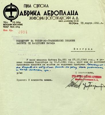 Допис Прве српске фабрике аероплана Живојин Рогожарски ад, Београд, 1941, ИАБ, ЗАрх.