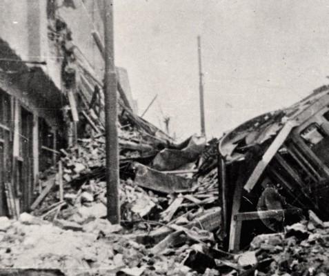 Изглед порушеног града после бомбардовања, Београд, 1941, ИАБ, Зф РП и НОБ и социјалистичке изградње.