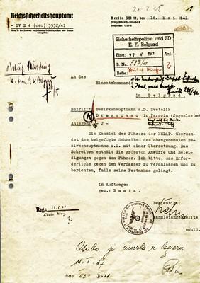Отворено писмо Светолика М. Драгачевца из Параћина, среског начелника у пензији, упућено Адолфу Хитлеру и реакција из Берлина на отворено писмо Фиреру, Параћин – Берлин, 1941, ИАБ, BdS. (Страна 2)