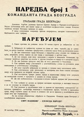 Decree No. 1 issued by Commander of the City of Belgrade, 1944, IAB, ZP.