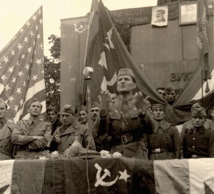 Rally in Belgrade near the monument of Vuk Stefanović Karadzić, 1944, IAB, Zf RP i NOB i socijalističke izgradnje.
