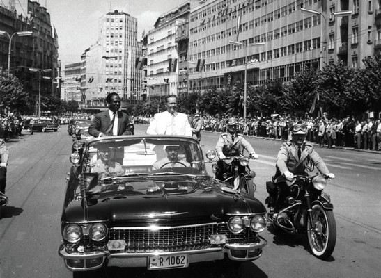 Arrival of the president of Ghana Kwame Nkrumah for the first conference of nonaligned states, Belgrade, 1961, IAB, Legat Koče Popovića.