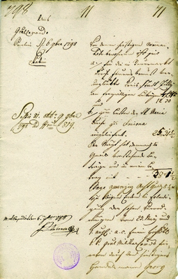 Financial aid in the sum of 12 gld and 30 kr collected by inhabitants of Zemun Magistrat for townsmen of Celje, who suffered great damage in a fire, 1798, IAB, ZM.