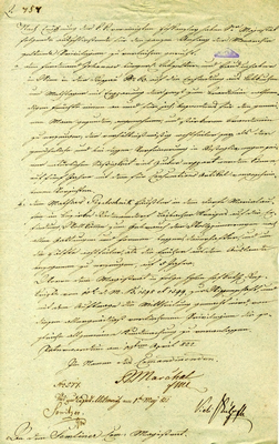 Report sent to Zemun Magistrat on bestowing privileges to Ferdinand Dohanneŭ, Mathias Pogatschnik, both from Ljubljana District (Slovenia), for their innovations for the period of five years, 1822, IAB, ZM.