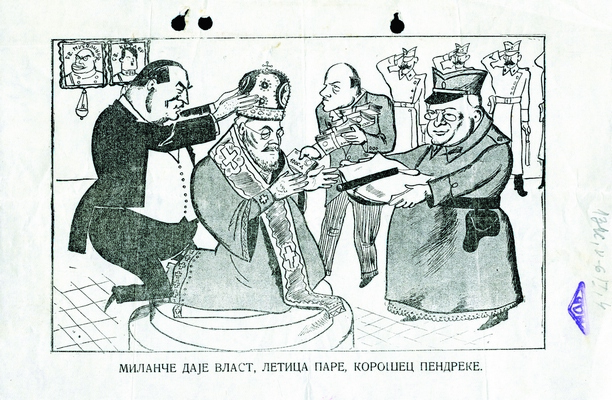 Cartoon made at the time of the crisis, which developed because of signing of a special treaty with the Vatican in 1937. The concordat specified the rights of Catholics in Yugoslavia. Stojadinović- Korošec-Spaho Government sent the motion to the National Assembly, prompting dissatisfaction of Serbian Orthodox Church and political opposition as well as mass demonstration and conflict with the police, 1937, IAB, Lf NS.
