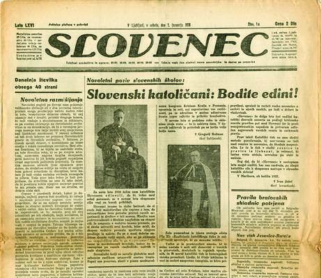 Slovenec, водећи клерикални словеначки часопис, гласило Словенске људске странке, Љубљана, 1. јануар 1938, ИАБ, ЗШТ Живка Јовановића.