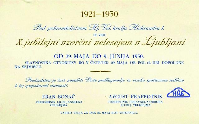 Каталог X Међународног јубиларног велесајма у Љубљани, 1930, ИАБ, ТКБ. (Страна 1)