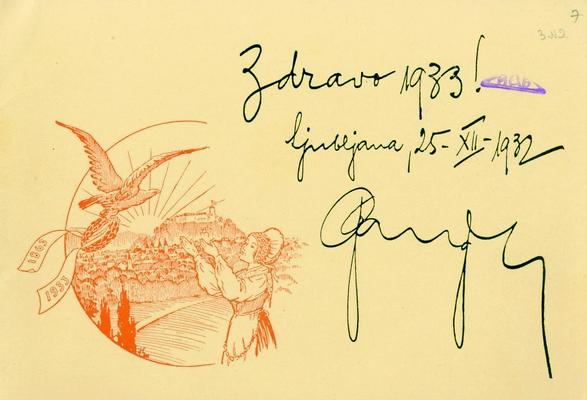 Новогодишња честитка Соколског друштва из Љубљане, 25. децембар 1932, ИАБ, Пф Г.