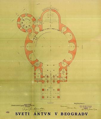 Јоже Плечник, црква Св. Антуна Падованског, основа (техничку документацију потписао архитект Дујам Гранић), Београд, 1929, ИАБ, ОГБ.