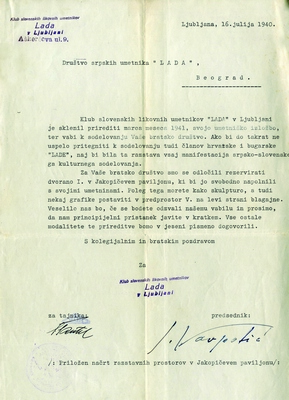 "Correspondence between Slovene artists Club ""Lada"" from Ljubljana and Serbian Artists Society ""Lada"" from Belgrade regarding the founding of Slovene section, cooperation of artists within manifestation of Serbian-Slovene cultural activity and opening of exhibition in Jakopič Pavilion in Ljubljana, 1938, 1940, IAB, Društvo srpskih umetnika ""Lada"". (Page 2)"