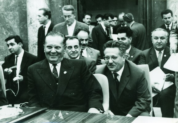 Josip Broz Tito, Koča Popović and Edvard Kardelj, Vice-President of Federal Executive Council attending first assembly of nonaligned states, Belgrade, 1961, IAB, Legat Koče Popovića.