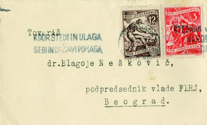 New Year's card sent by Miha Marinko, President of the Government of People's Republic of Slovenia, to Blagoje Nešković, Vice-President of the Government of the FPRY, 1948, IAB, Legat Blagoja Neškovića. (Page 1)