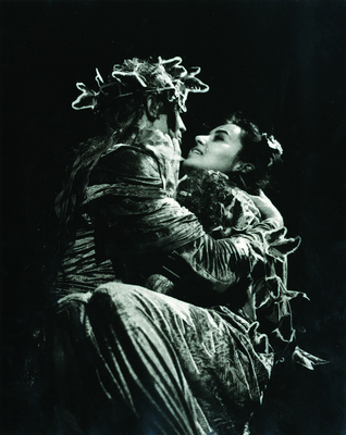Ksenija Mišič as Margaret and Janez Škof as Faust in a scene in performance Faust by Drama Slovene National Theatre Maribor (Slovenia), directed by Tomaž Pandur (foto Andjelo Božac). The theatre performance won Mira Trailović Grand Prize of 24th BITEF 1990, Maribor, IAB, BITEF.