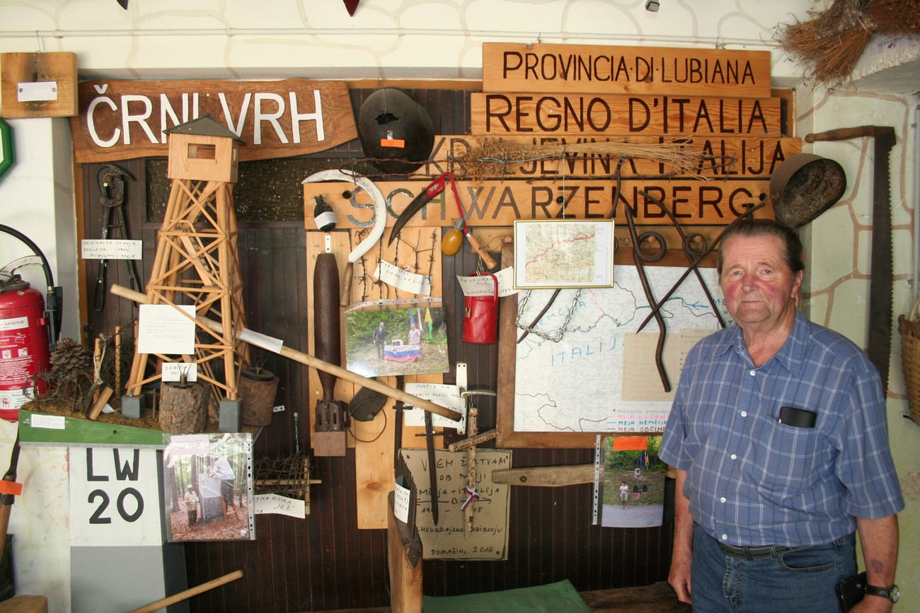 With his commemorative collection, Milan Košir from Črni Vrh above Polhov Gradec is preserving the memory of the occupation border which ran across the Polhov Gradec hills. Author: Božidar Flajšman.