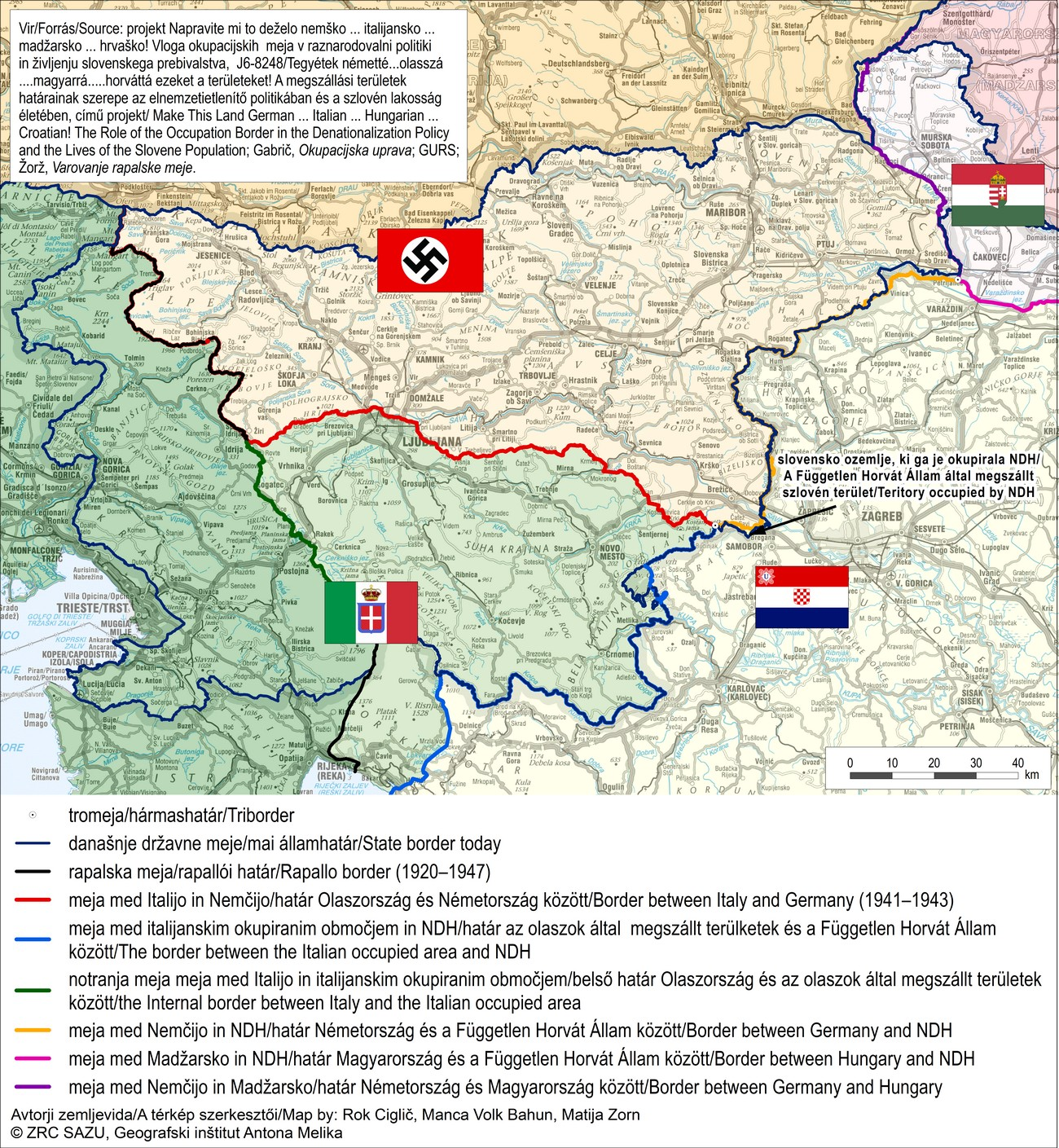 After occupation, Slovene territory was divided among the Germans, Italians, Hungarians and Croatians.
