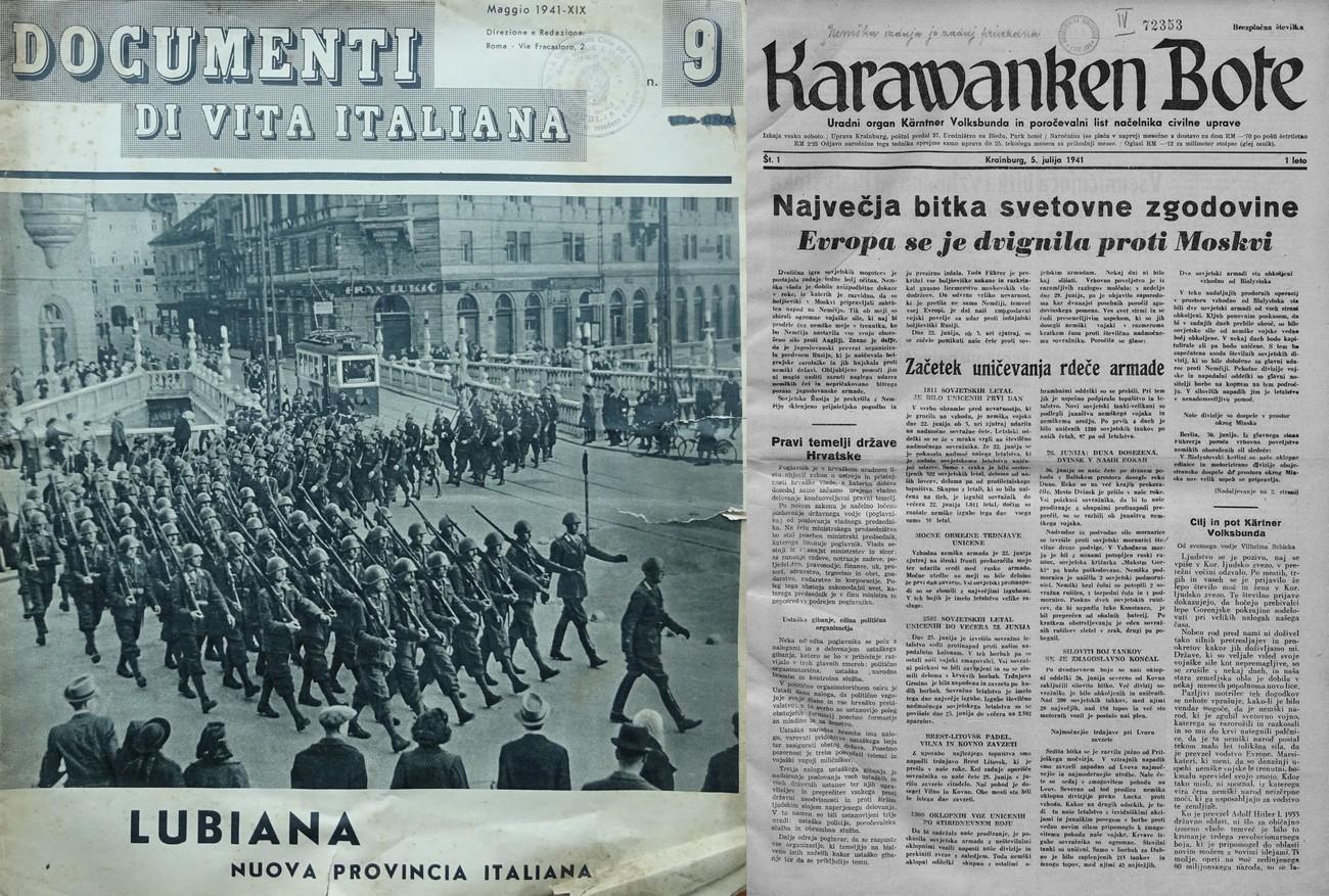 Front page, DOCUMENTI DI VITA ITALIANA, No. 9, May 1941 and front page, Karawanken Bote, No 1, 5 July 1941.