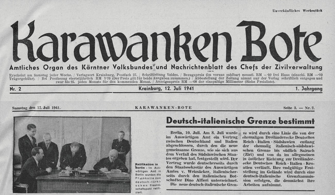 A text about the demarcation of the border between Germany and Italy in the newspaper Karawanken Bote.
