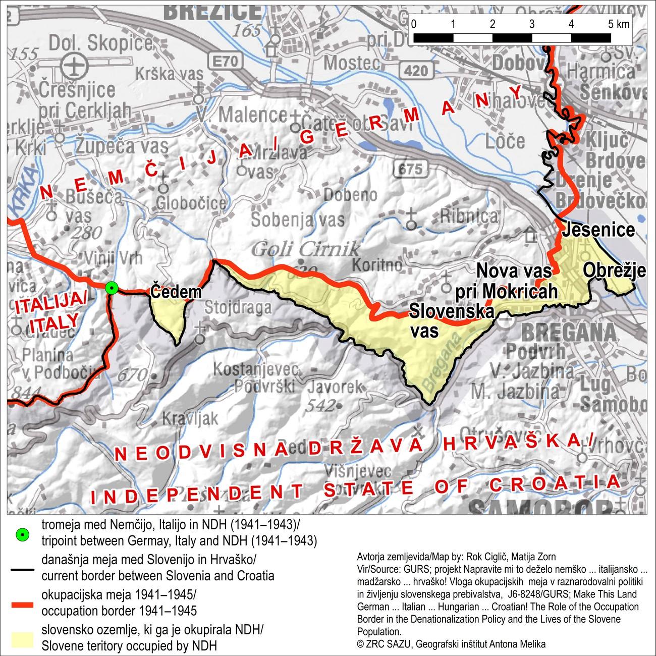 Leta 1941 je več slovenskih vasi južno od Brežic (Jesenice, Obrežje, Nova vas, Slovenska vas in Čedem) okupirala NDH.