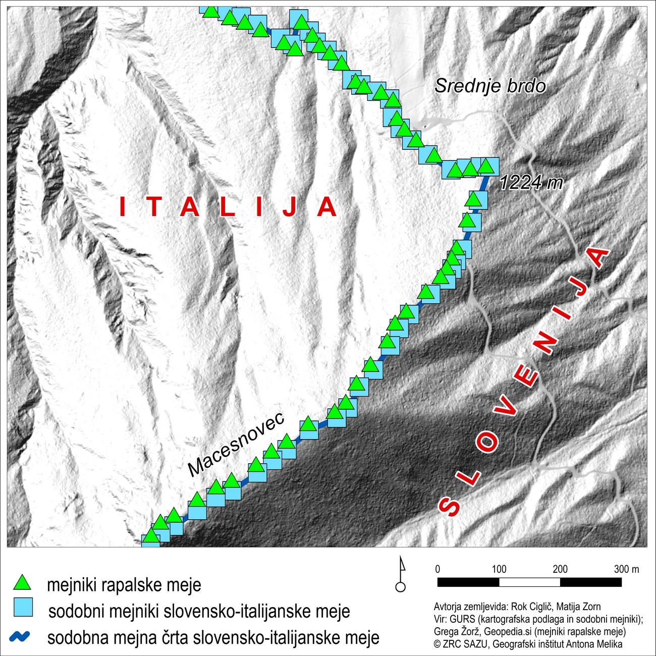Na grebenu Ponc lokacije današnjih mejnikov sovpadajo z lokacijami mejnikov rapalske in okupacijske meje. Primer kaže območje Macesnovca.
