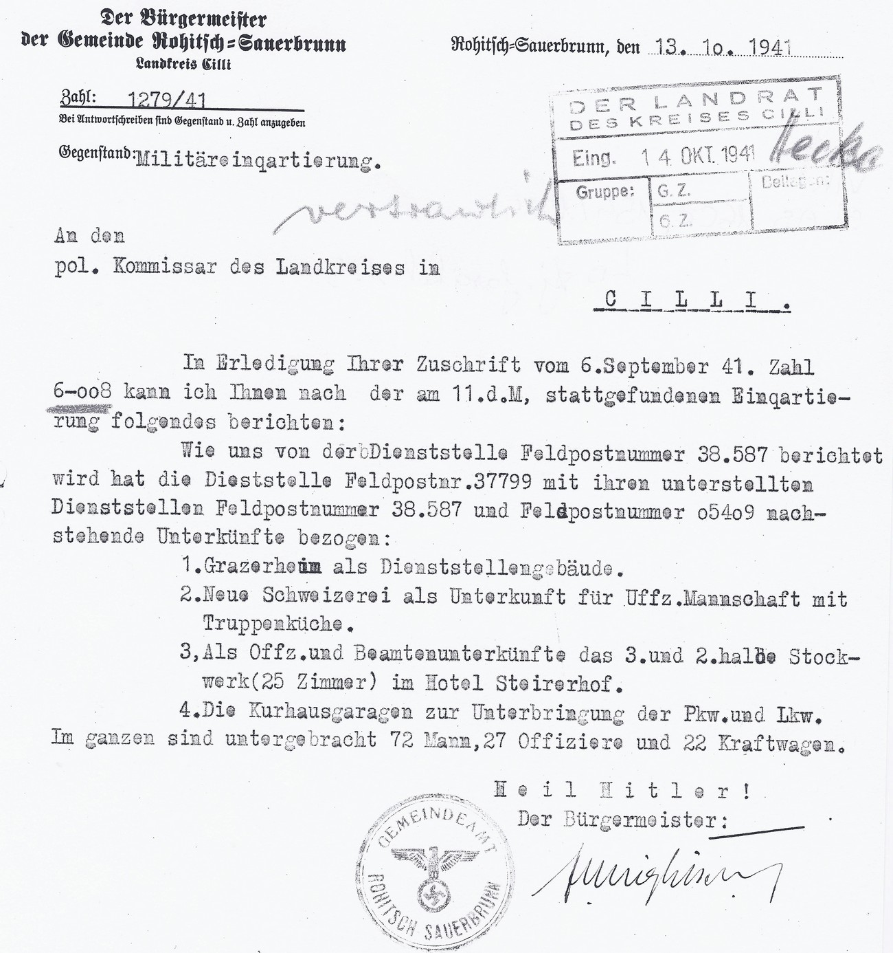 Report on the accommodation of military and clerical personnel in Rogaška Slatina. Miglitsch, the German mayor of Rogaška Slatina, reported on 13 October 1941 that 72 soldiers and 27 officers were staying at the health resort. They had 22 motor vehicles at their disposal, which were parked in the garages of Zdraviliški dom. German non-commissioned officers and the accompanying kitchen staff were staying at the Nova Švicarija Hotel, while officers and clerks were assigned 25 rooms on the second and third floors of the Štajerski dvor Hotel (called Jugoslovanski kralj before the German occupation). In February 1943, police hospitals were also set up in this hotel. In Ljubljanski dom, after the abolition of Komarek's political commissariat of Šmarje pri Jelšah, many offices of various departments were set up. Other accommodation facilities in the health resort, which also contained a night-time swimming pool, a bakery and its own theatre or cinema, were intended for select guests from the countries occupied by the Third Reich. Archives of the RS.