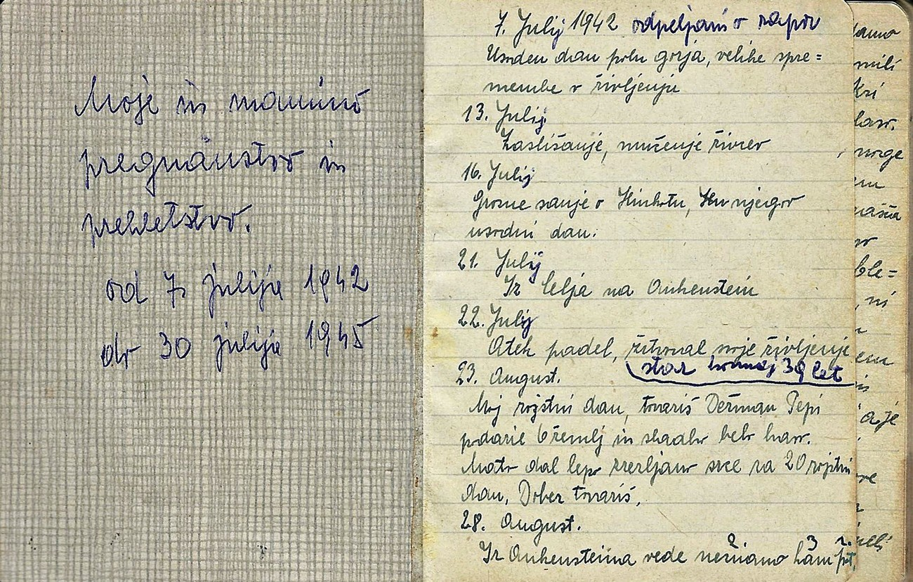 """Mine and My Mother's Exile and Curse"": the diary entries of Marija Drimel about the horrific events in the period from early July 1942 to 30 July 1945. The author wrote most of the pages in great secrecy behind the barbed wire of the largest concentration camp, Auschwitz. The first entry was written on 7 July 1942, even before being deported to the camp, when Rogaška Slatina was dealt one of the hardest blows. On that day, after capturing and torturing a local to get information, German troops crammed 27 poor glassworkers into their lorries in front of the glassworks, and took them to the Stari pisker prison. In the following weeks and months, they were shot to death by Nazis in front of the ""death wall"" in this Celje prison. Published courtesy of Maša and Leon Drimel, who own the original."
