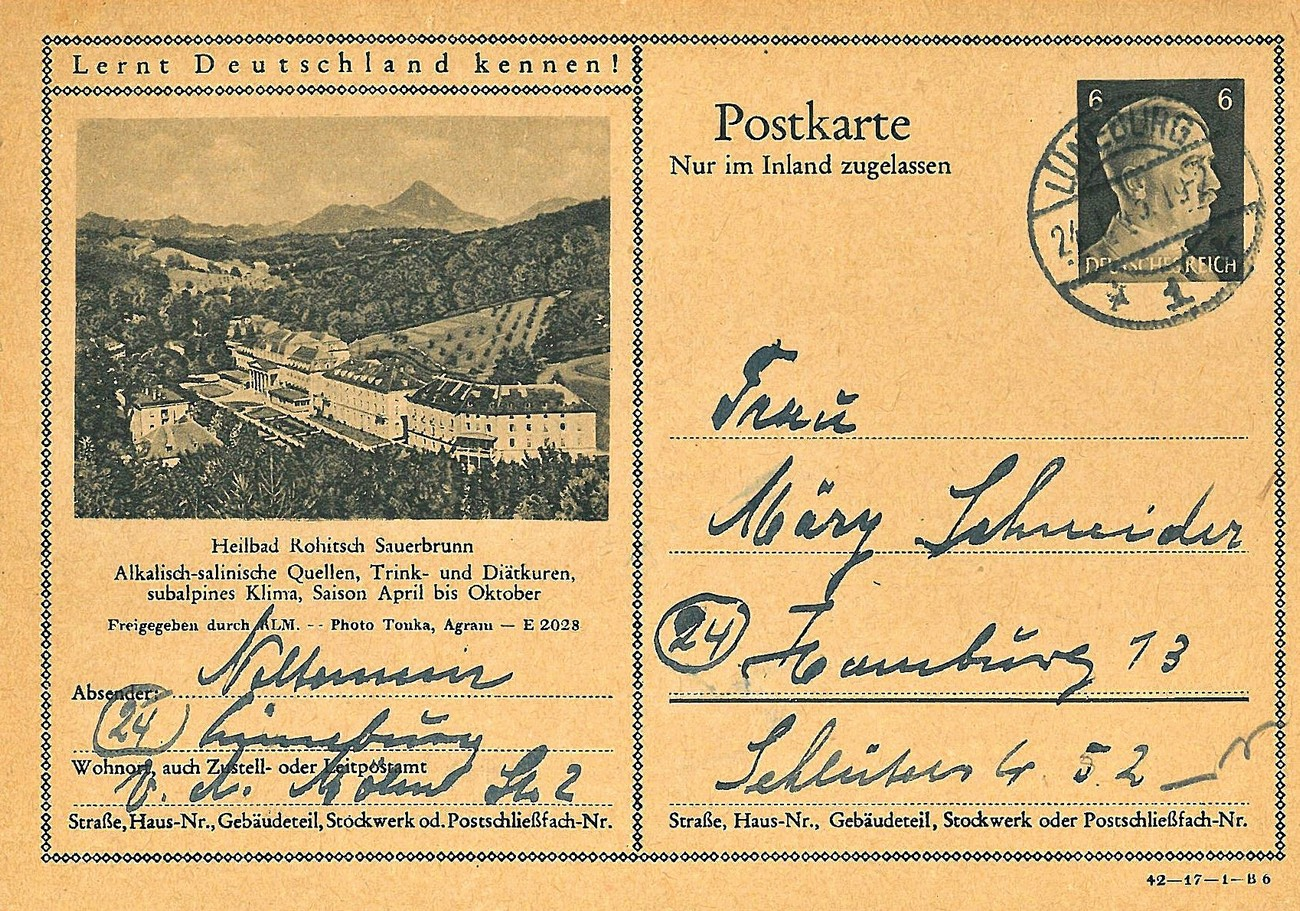 Postcard sent from Rogaška Slatina in January 1945. It promotes the submontane climate (the occupying forces made a mistake there), the healing water and the diet food. Just as the glassworks operated with limited capacity, so did the health resort, which was ran by Director Wolf. In the beginning of May 1942, with the start of the new season, Wolf managed to move the police curfew for guests of the health resort from 9 p.m. to 11 p.m. Some of the hotel buildings that were part of the health resort's accommodation offer were closed during the winter. Thus, the Ozom Hotel and the Triglav Hotel were still closed in the middle of May 1942. Published courtesy of Robert Reich (Rogaška Slatina once upon a time), who owns the original.