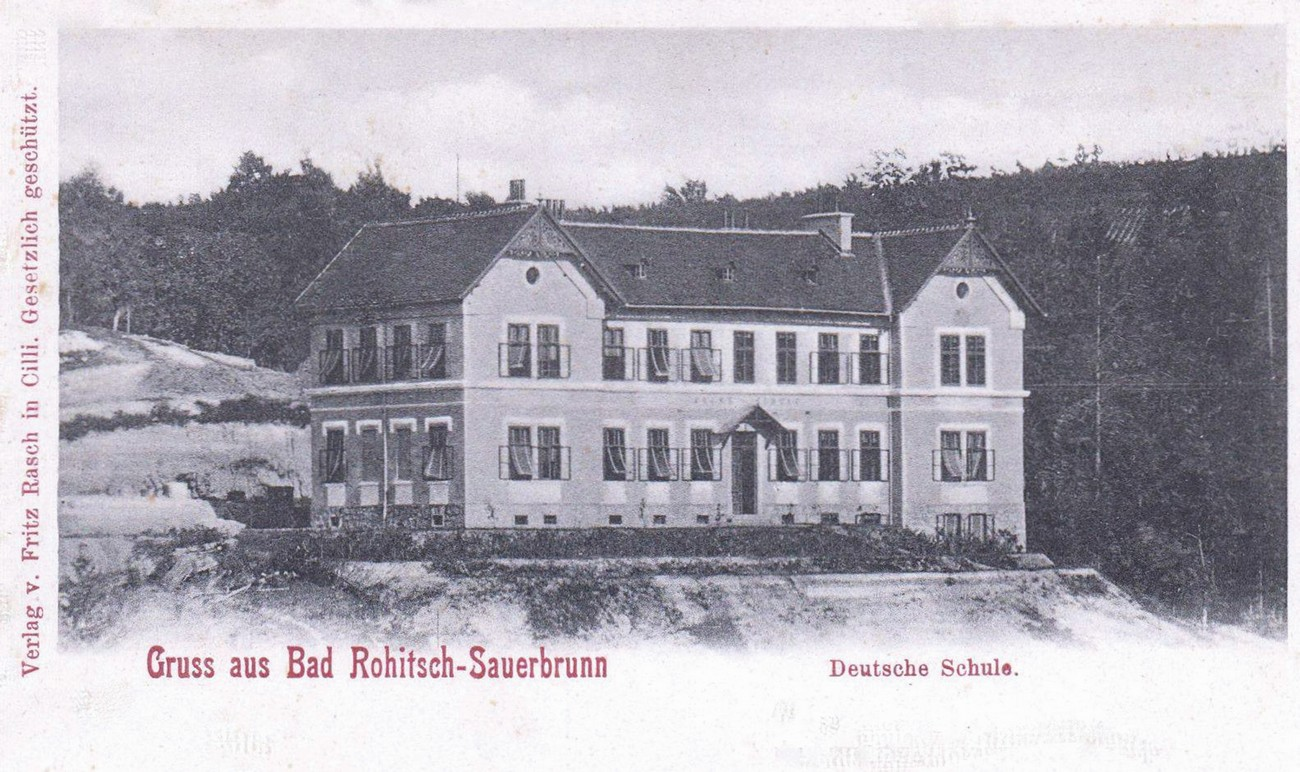 The primary school in Rogaška Slatina (the present-day 3rd Primary School of Rogaška Slatina) was built in 1888; due to the financing of its construction and the influence over its educational programme it was called the German school. It held lessons during the war. Published courtesy of Robert Reich (Rogaška Slatina once upon a time), who owns the original.