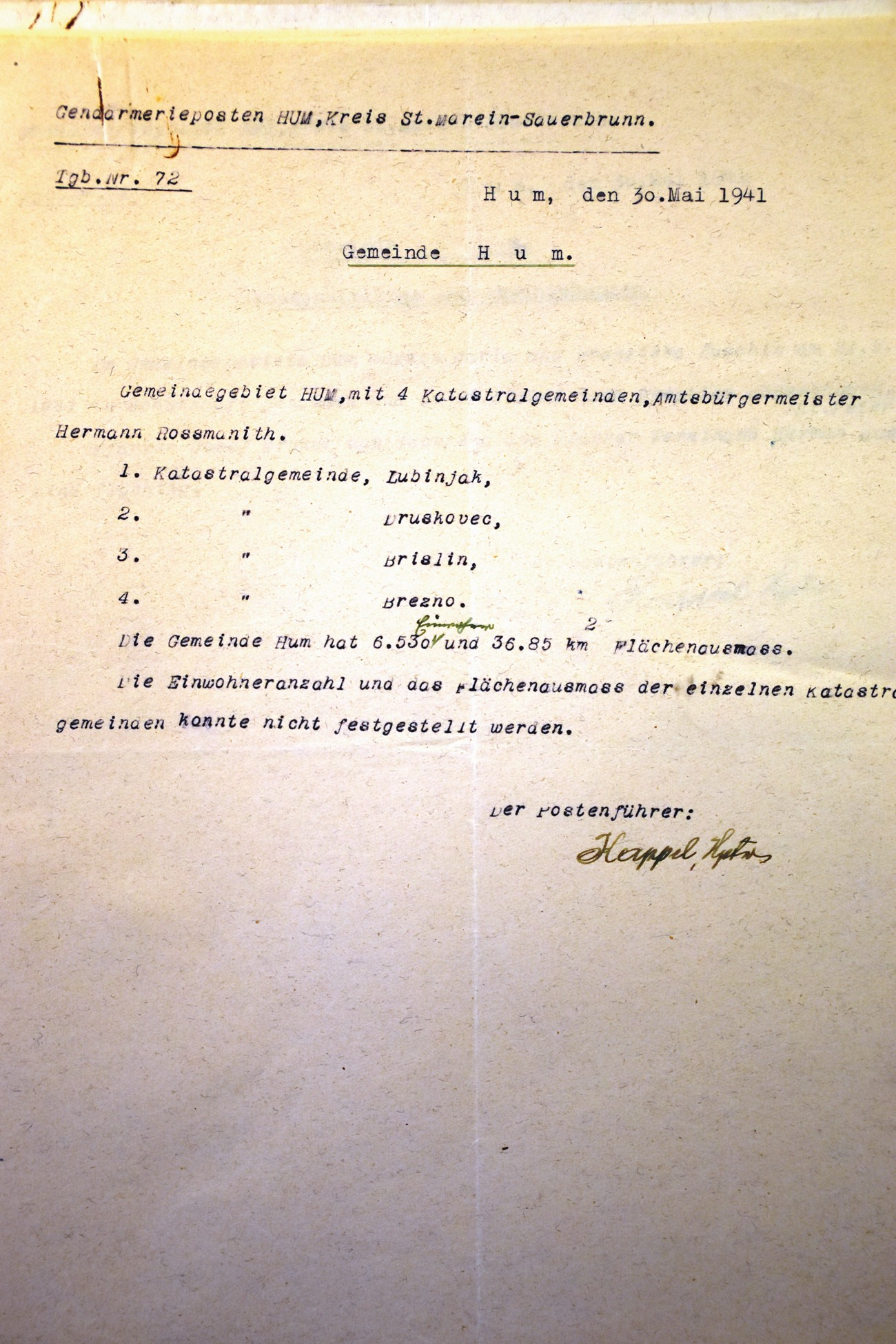A report from the Hum Gendarmerie Station (the Šmarje District based in Rogaška Slatina) dated 30 May 1941 on the Occupation Municipality of Hum, which, besides Hum, also included four corresponding cadastral units – Lupinjek, Druškovec, Prišlin and Brezno. Archives of the RS.