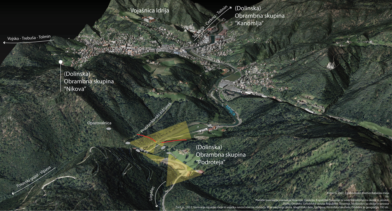 Depiction of fortresses which, as part of the Alpine Wall, protected the Rapallo Border area in the vicinity of Idrija. The main purpose of these fortresses was to block road connections that led to Italy's interior.