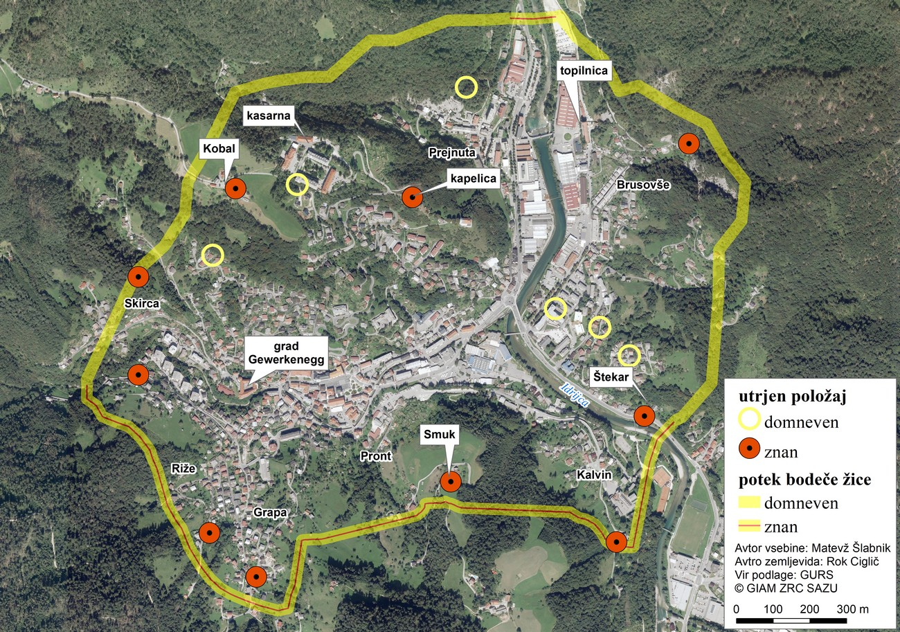 A simulation of German fortified positions and the trail of their barbed-wire obstacles around Idrija between 1943 and 1945, based on oral sources and a sketch made by the 9th corps' intelligence service. The diameter of the barbed-wire circle was 6 kilometres.