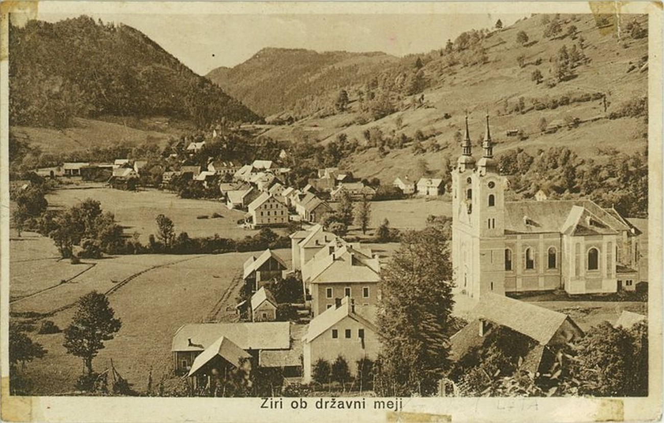 Postcard depicting Žiri, photographed by Štefan Mlakar in 1927. The hillside in the background was on the Italian side of the Rapallo Border. Žiri Museum.