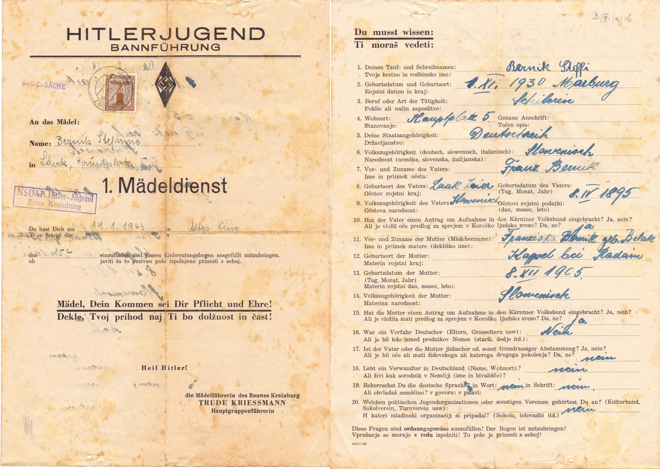 Hitlerjugend or Hitler Youth – German Nazi youth organisation – was founded in 1926. One of its goals was to spread Nazi ideology among young people. The organisation also operated in Žiri. Photographs show the application form that one needed to fill out if they wanted to join the Hitler Youth. SI ZAL ŠKL, 0268, 44, B-IV-a-16.