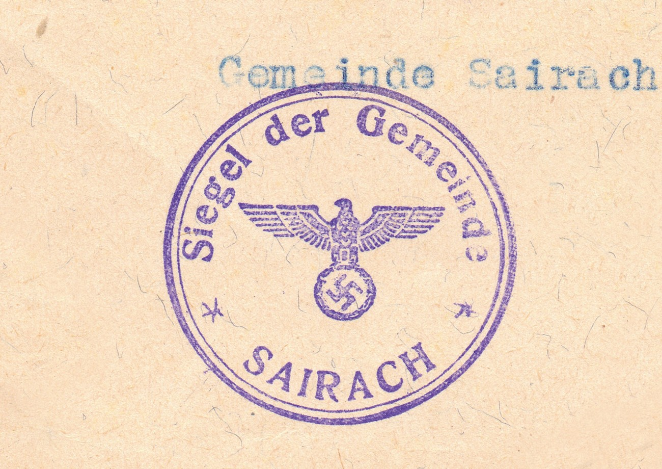 During the interwar period, the Municipality of Žiri was part of the administrative unit of Logatec. After the German occupation, however, the town became part of the District of Kranj. In the photograph, we can see the stamp that was used in Žiri during German occupation. SI ZAL ŠKL, 0265, 1, 11.