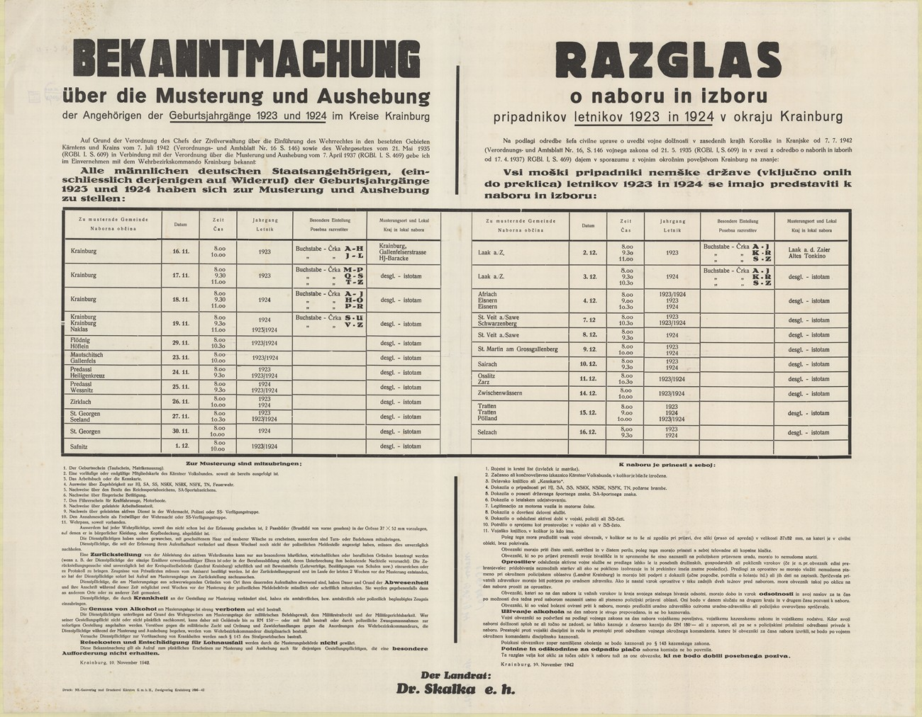 The residents of Žiri were also mobilised into the German army. The Germans used this poster (seen above) to notify all men born between 1923 and 1924 about the draft. SI ZAL ŠKL, 0268, 79, OK-C-I-21.