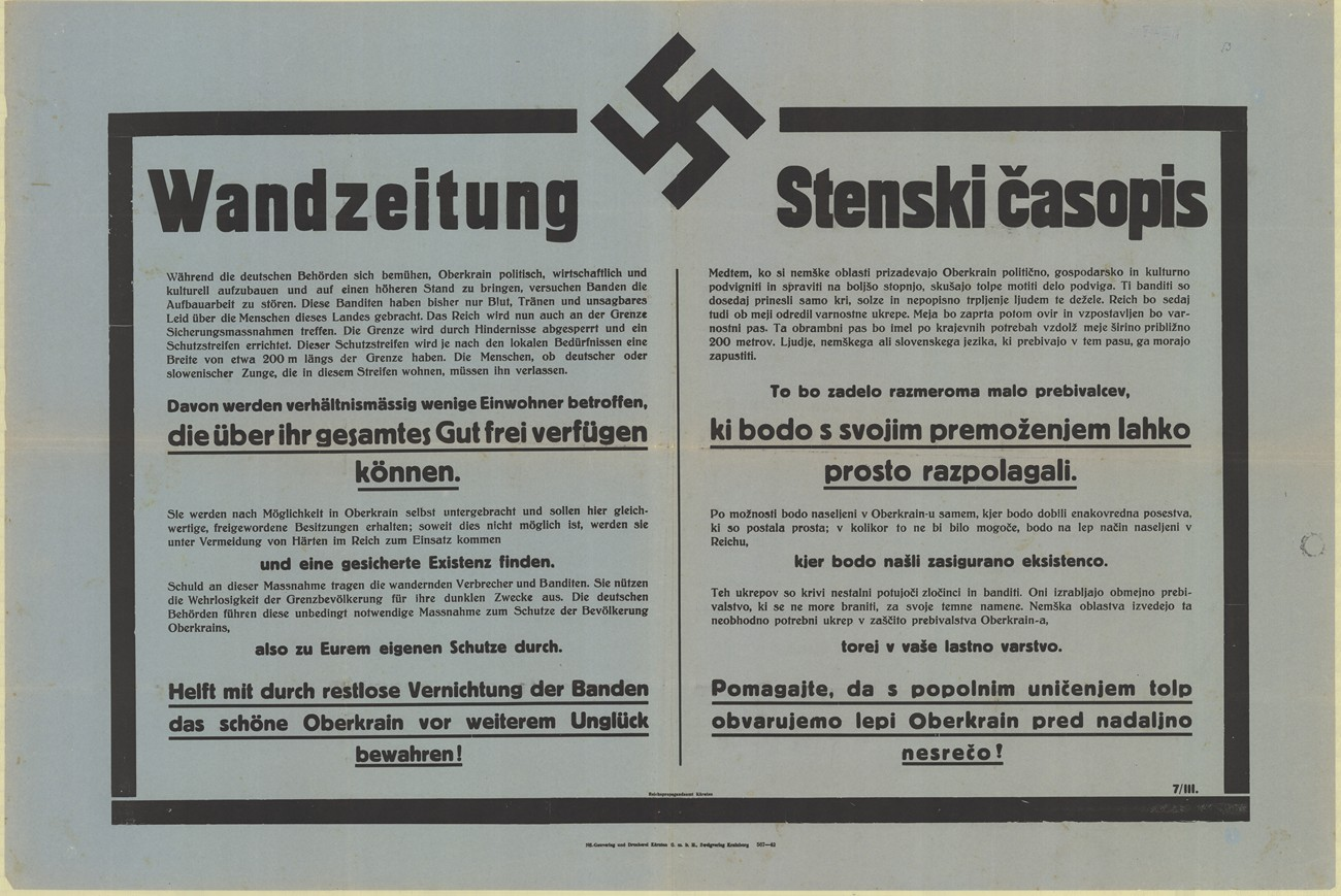 The poster that was used by the German authorities to notify the local population of the border's fortification and the demolition of the facilities located near the border. SI ZAL ŠKL, 0268, 77, II-C-14.