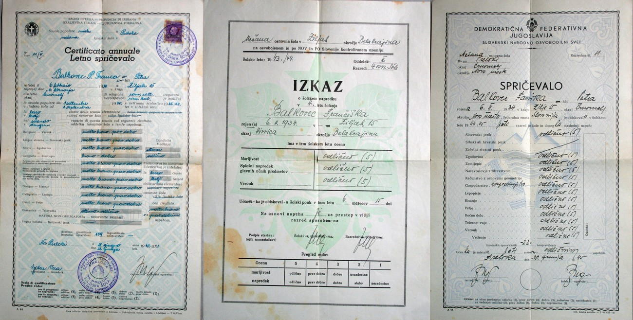 The picture shows the school-leaving certificates of Frančiška Tahija (maiden name Balkovec). In the 1942-1943 school year, her school-leaving certificate was issued by the Kingdom of Italy; in the next school year it was issued by the Government of the Free Territory; after the final year of the war, in the 1944-1945 school year, or more precisely in June 1945, she received a school-leaving certificate from the Democratic Federal Yugoslavia in her liberated homeland. Signed as the headmaster on all three school-leaving certificates is Feliks Jug.