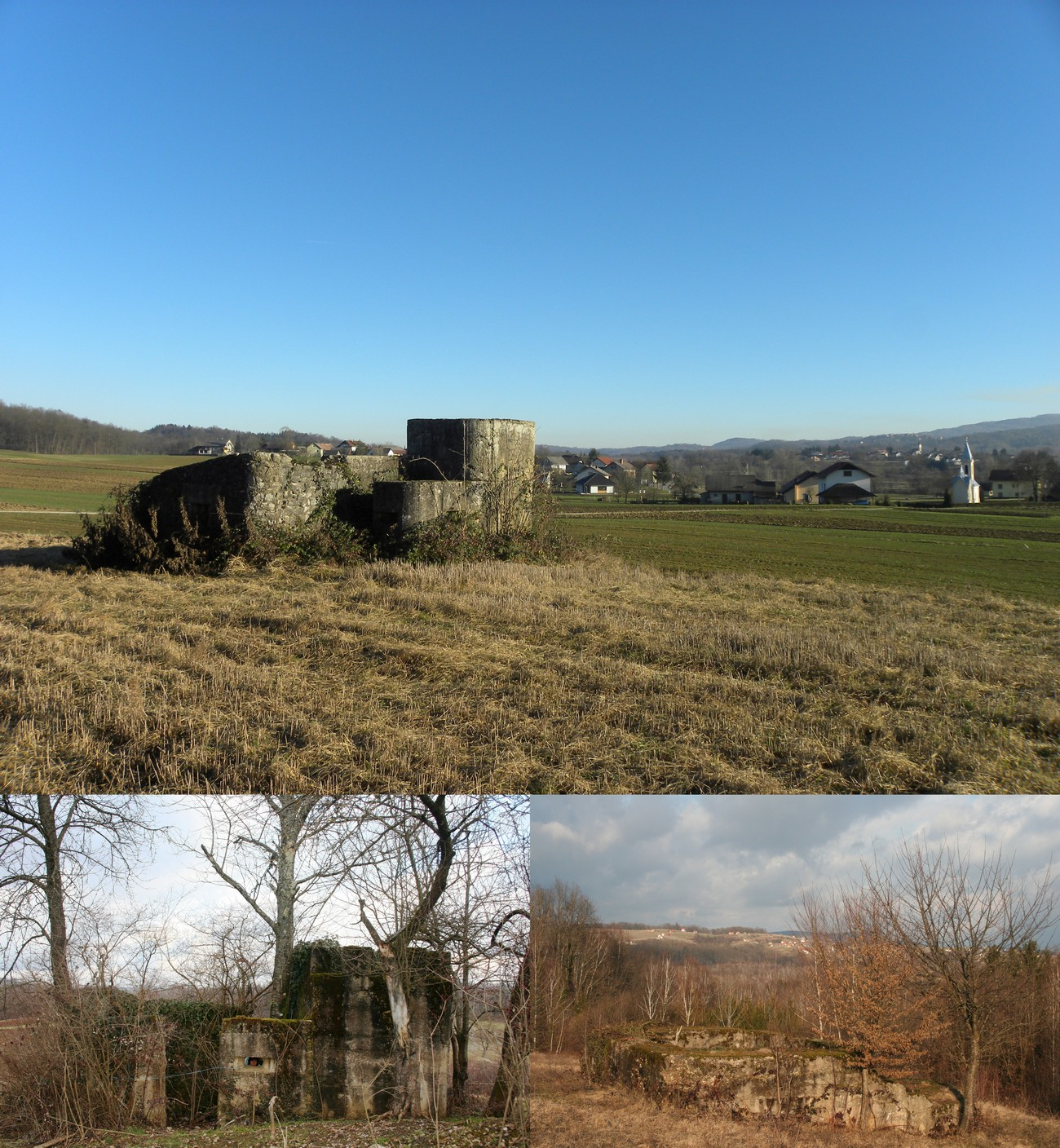 Along the zone of barbed wire, they built 6 strong concrete bunkers between early August and early September 1943. Four of them have been preserved to this day. The photograph shows the bunker near the village of Radoviči and Rosalnice. Authors: Blaž Štangelj and Božidar Flajšman.