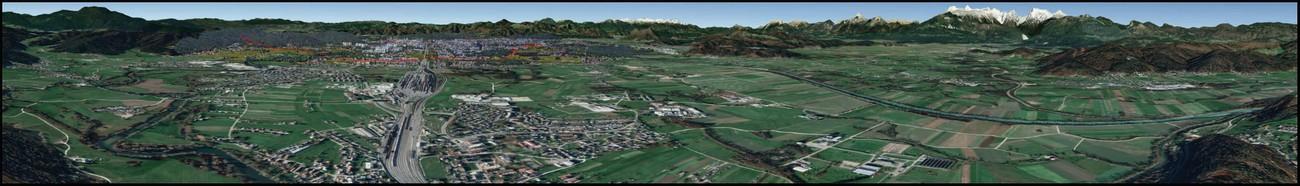 Panorama 2. Panoramski pogled z Debnega vrha na Kašeljskem griču zajema vidno polje med 210° (jugozahod: Sostro; v ozadju Golovec in Krim) in 30° (severovzhod: Dol pri Ljubljani; v ozadju Kamniško-Savinjske Alpe). Tudi ta pogled je Nemcem omogočal, da so dobro nadzorovali italijansko ozemlje južno od Save. Panorama je izdelana na podlagi satelitskih posnetkov v spletnem globusu Google Zemlja. Z rdečo črto je označen potek žice okoli Ljubljane.