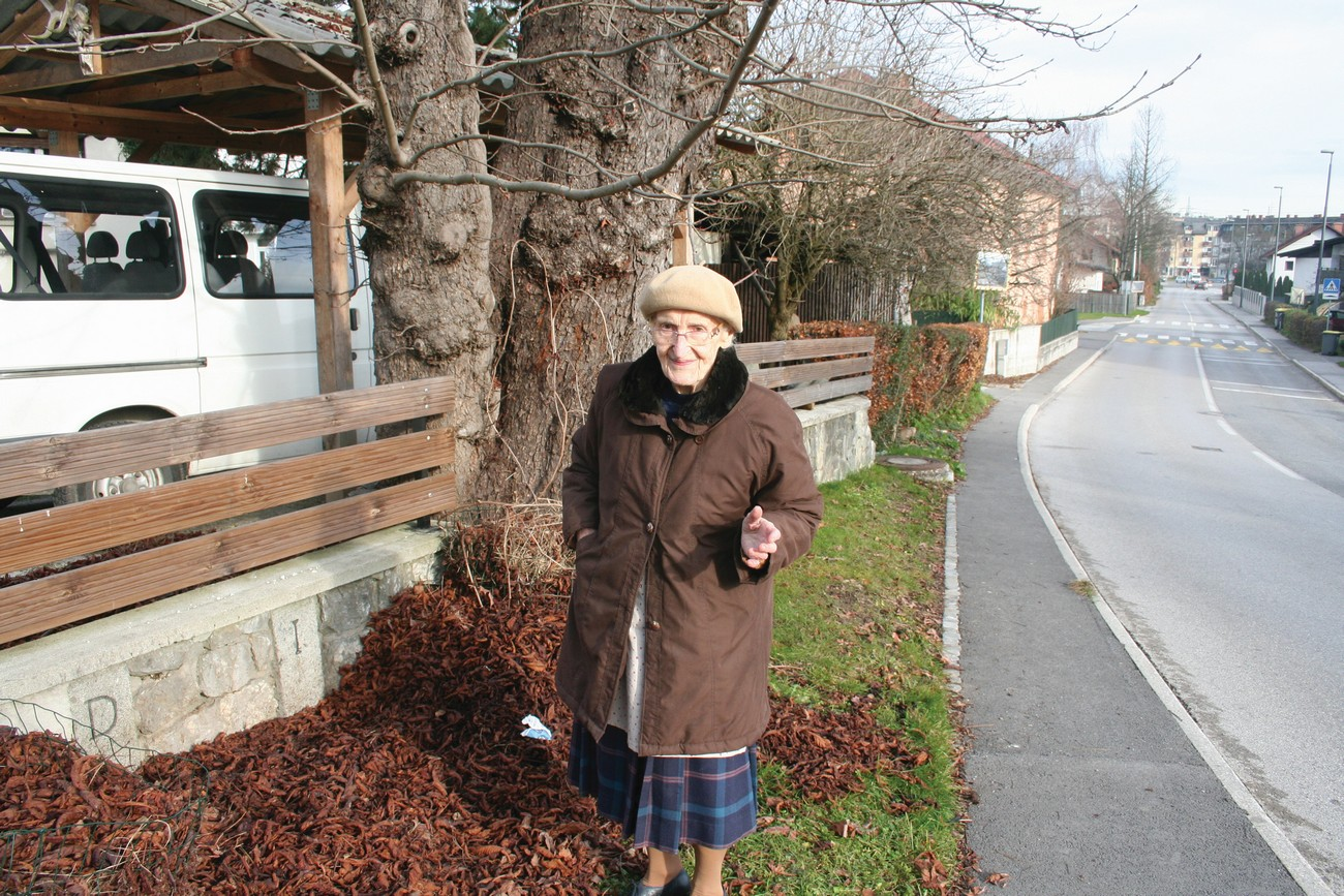 Milena Zalokar in front of her house on Cesta Andreja Bitenca, Ljubljana. As a way to mark the occupation border between Germany in Italy that ran here, the Zalokar family had the original boundary stones marked with D (Deutschland-Germany) and I (Italy) built into the wall, 11 December 2018. Author: Božidar Flajšman.