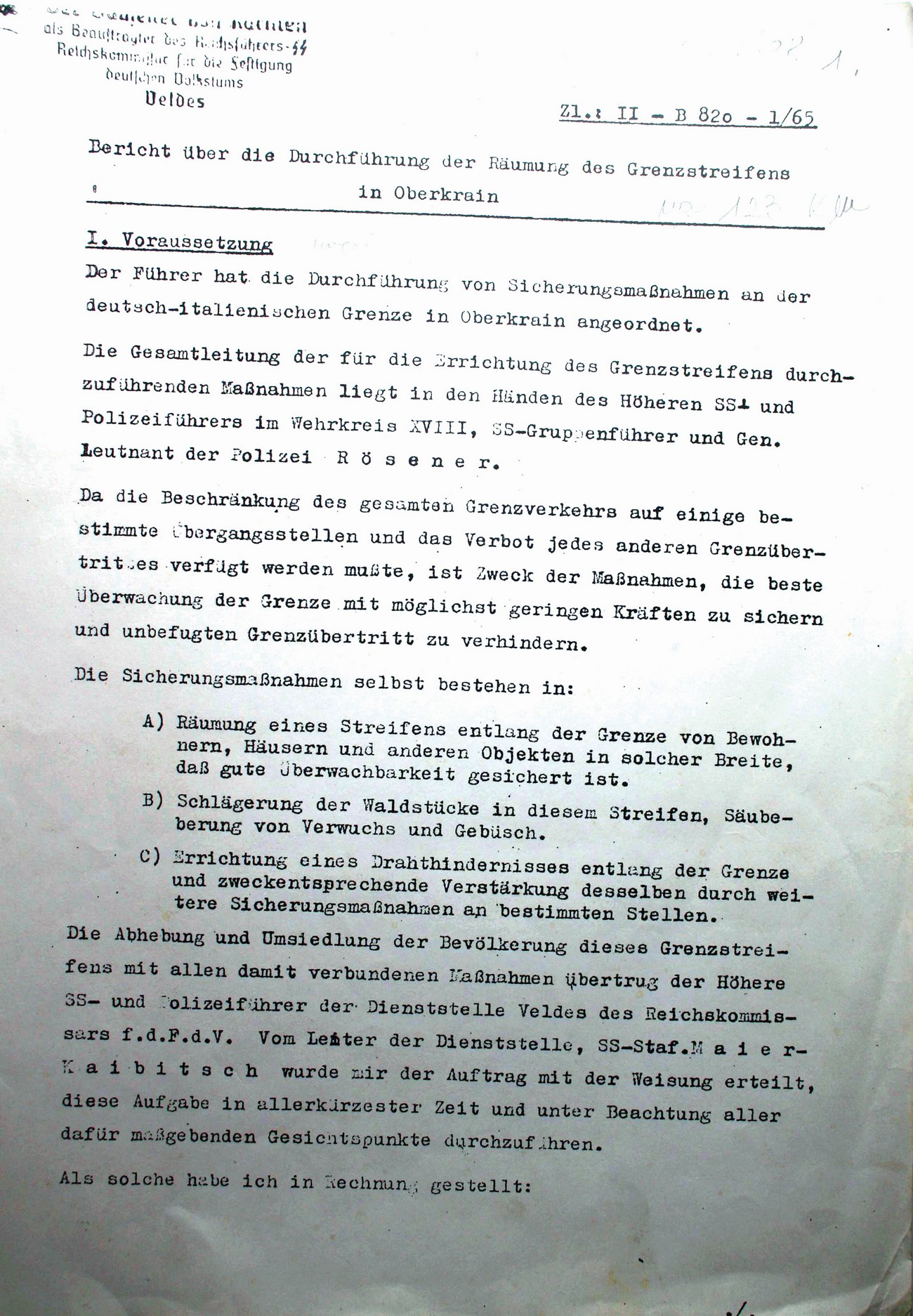 Page one of the German report concerning the implementation of the border strip clearing in Gorenjska, Bled, 13 June 1942. Attached were extensive lists of people affected by the German sanctions. Archive of RS.