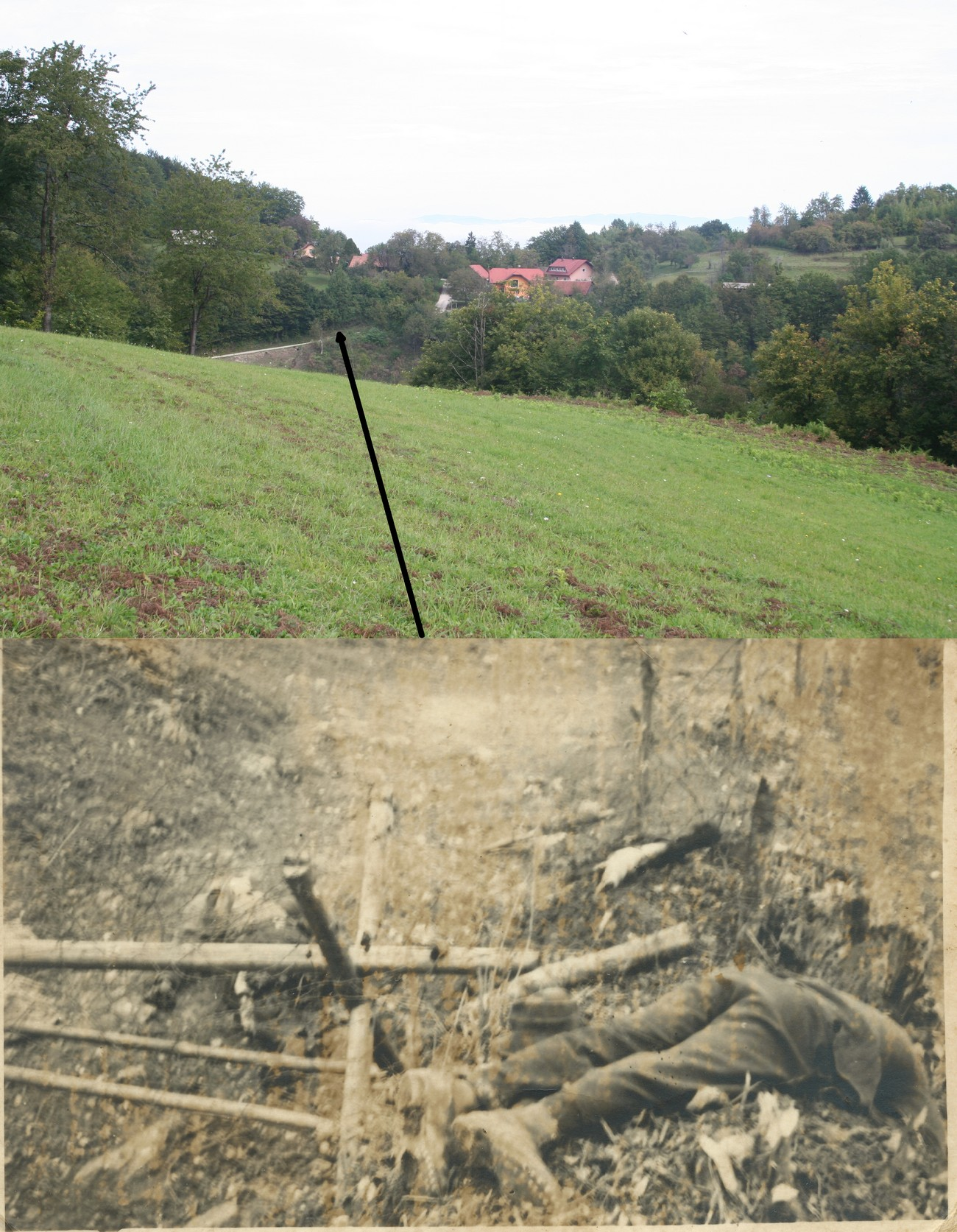 The village of Čedem was given to Croatia. The picture shows the village of Kamence, 400 metres north of Čedem. The border ran below the houses in the picture. A mine placed on the border killed Ivan Žurko and Alojz Kovačič on 6 December. Author of the top photograph: Bojan Balkovec. The bottom photograph is kept by: Antonija Erklavec.