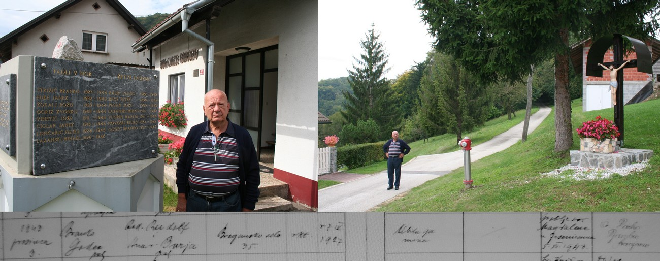 Alojz Godec from Obrežje standing in front of a memorial to World War II casualties in Slovenska vas. The last name inscribed on the memorial is that of his brother Branko, who was 16 years old when he died. He fell victim to a German minefield while taking cattle to graze near the border in Perišče. The border ran along the road in which Alojz Godec is standing. Branko was killed near the plaque. Below is the entry of Branko's death in the register of deaths of the Samobor parish. Author: Božidar Flajšman. Hrvatski državni arhiv.