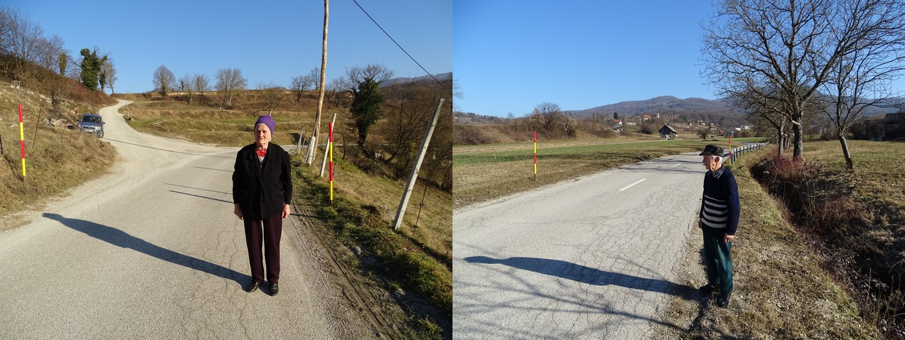 A few border crossings were placed along the fortified border. The crossings were controlled by Italian soldiers and MVAC units. Rezka Paderšič (born 1932) in the location of the border crossing in Dolenji Suhadol and Mihael Rukše (born 1932) in the location of the border crossing near Gabrje. Both crossings had barbed wire gates. Author: Blaž Štangelj.