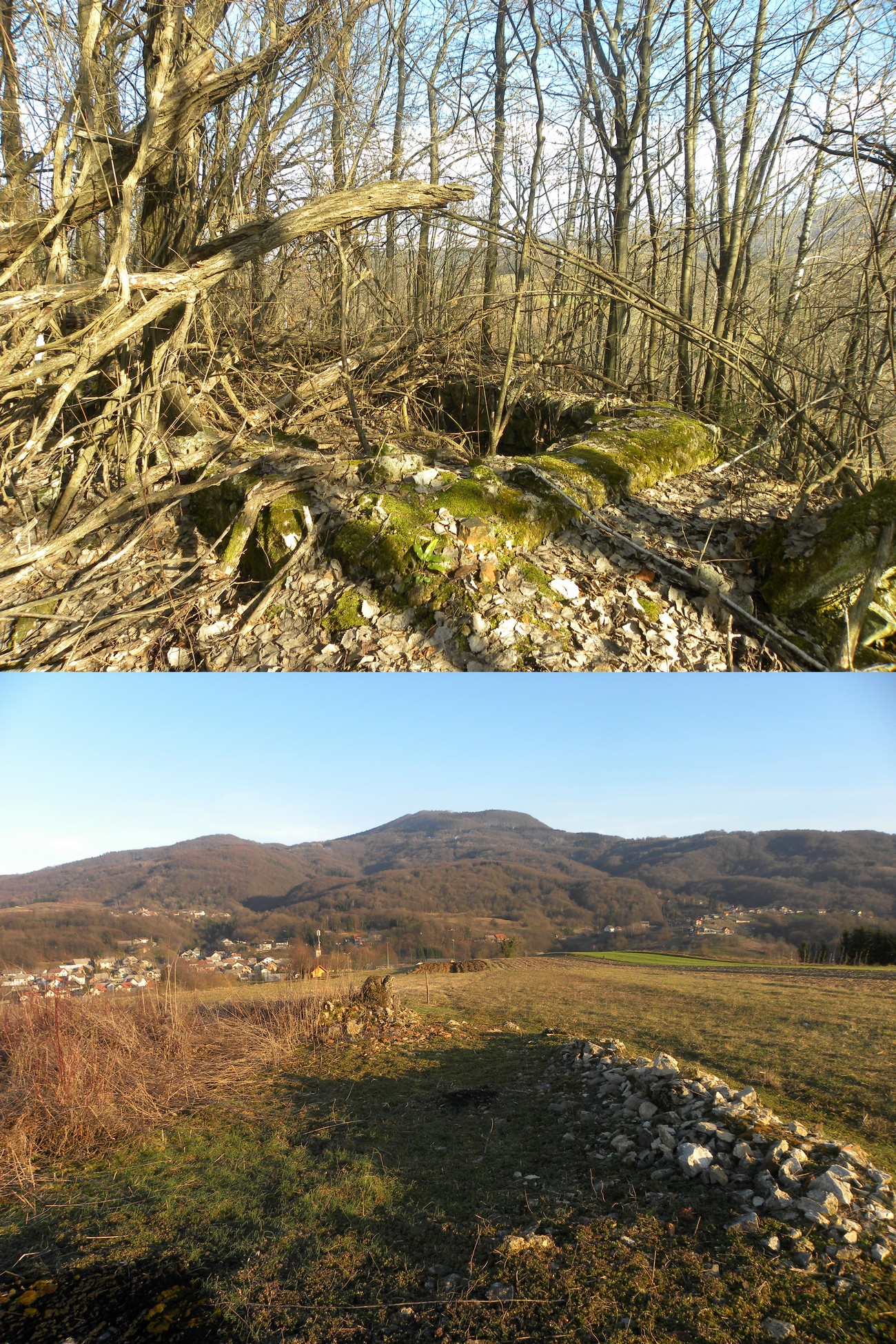 Remains of built bunkers on the Rutovca Hill and in Gomile near the village of Gabrje. Visible in the background of the below photograph are the Gorjanci Hills with the hill Trdinov vrh. Author: Blaž Štangelj.