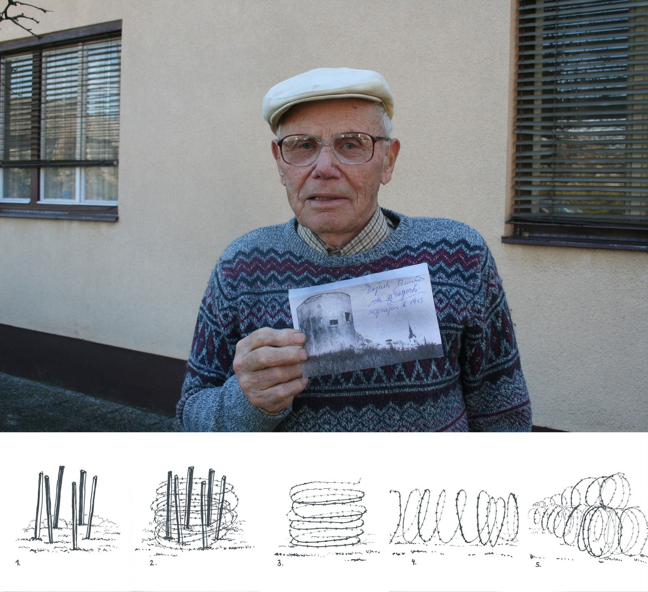 Stanislav Sluga (born 1927) from Dolenja Brezovica took part in setting up the barricade of the border between Italy and the NDH. They drove six stakes into the ground to form a circle. They wrapped the barbed wire around the stakes, then they removed the stakes and turned the wire upside down, stretching it to form a tunnel, 50m long. They placed two barbed wire tunnels on the bottom and one on top, and then connected them. Author: Božidar Flajšman.