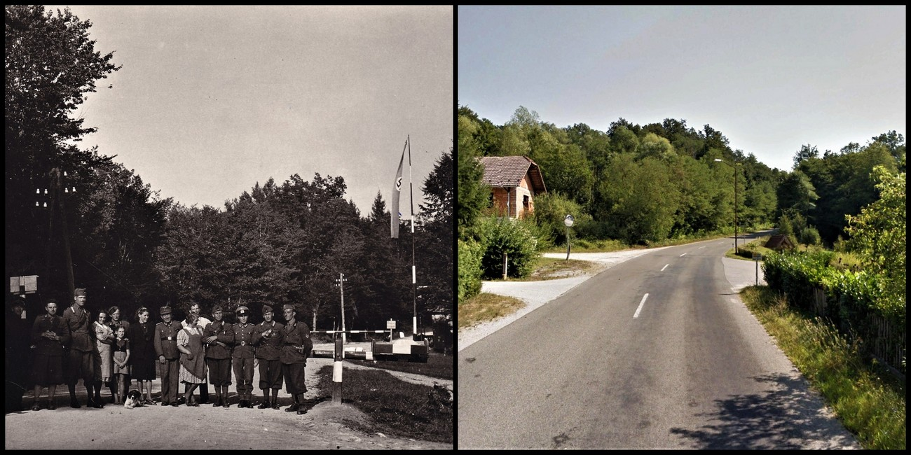 The border crossing in Veliko Mraševo on the Novo mesto – Brežice road in the direction of Cerklje ob Krki. PMB. Author of comparative photograph: Jure Tičar.