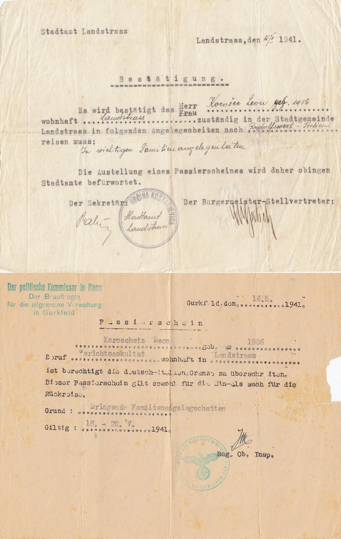 Sodni uslužbenec Leon Korošec je zaradi družinskih obveznosti moral maja 1941 potovati iz Kostanjevice v Novo mesto. Na sliki sta dva dokumenta, povezana z izdajo propustnice, s katero je lahko potoval. Dolenjski muzej Novo mesto.